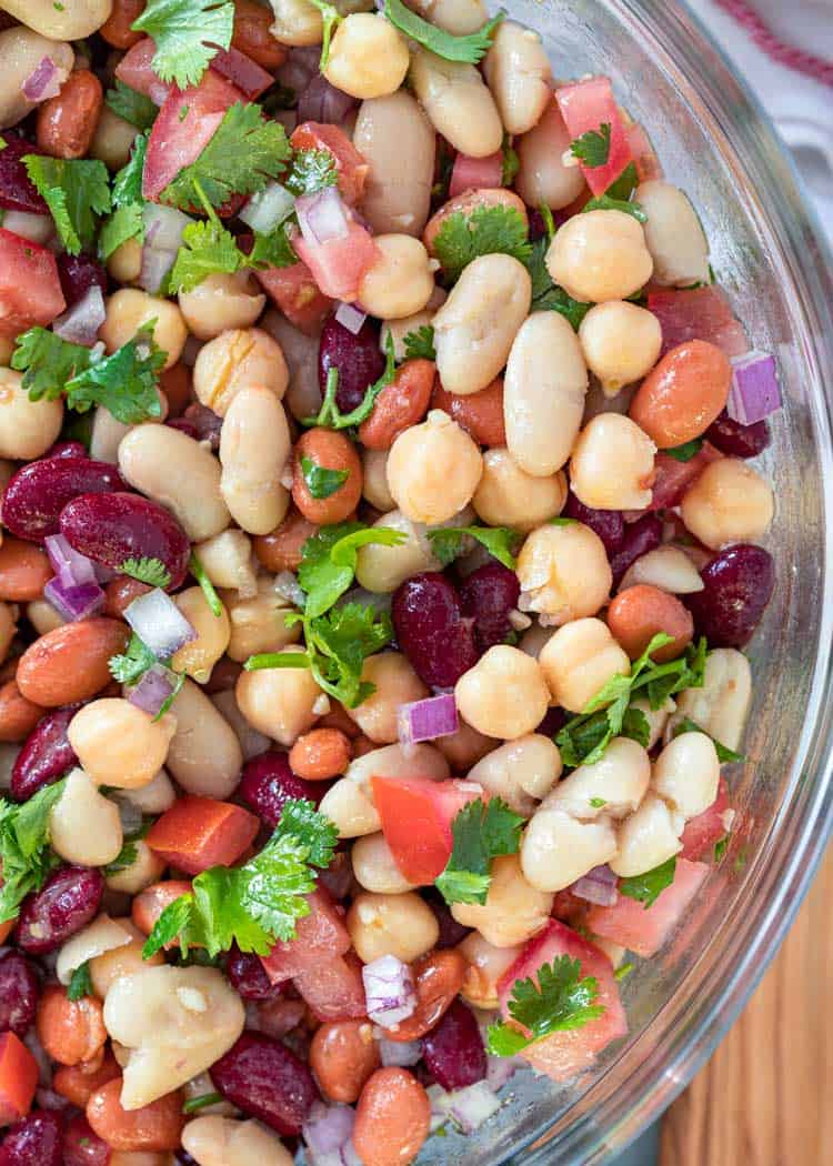 overhead close up of bowl of mixed bean salad