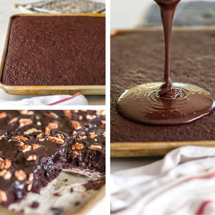 chocolate cake, pouring icing with pecans