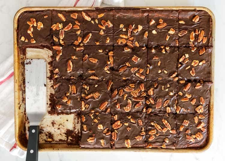 overhead photo of Texas Sheet cake with pecans