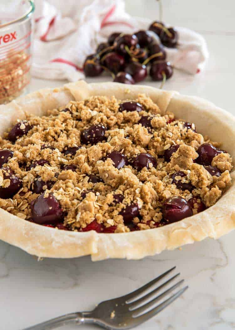 cherry pie with streusel crumb topping