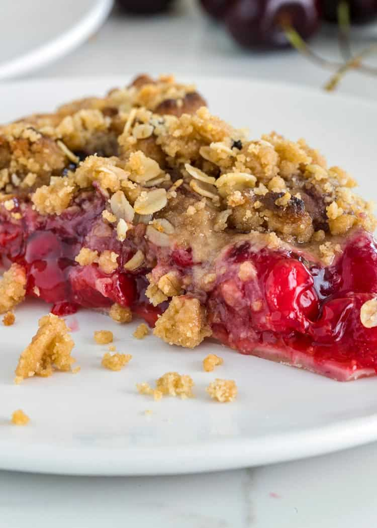 slice of Cherry Pie with Crumb Topping