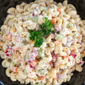 overhead shot of a bowl of macaroni salad