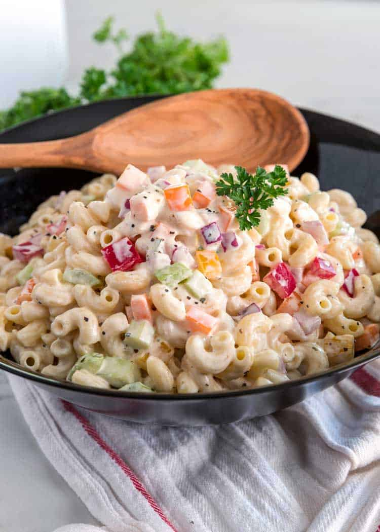Classic Macaroni Salad in a black bowl