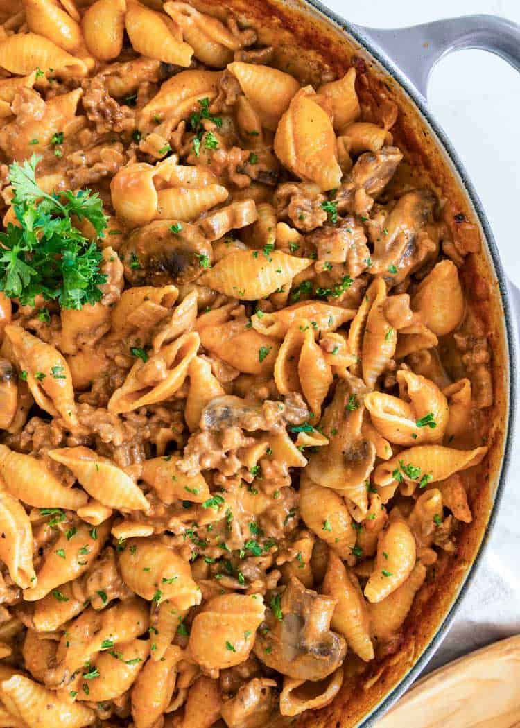 overhead close up of Creamy Beef Pasta