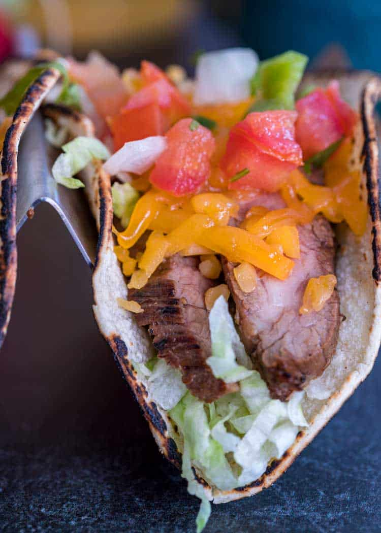 close up of a Flank Steak Taco