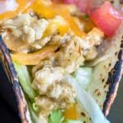 close up of ground chicken salsa verde tacos