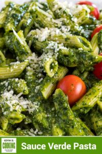 close up of Sauce Verde Pasta with red tomato