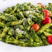 close up of Sauce Verde Pasta on white plate
