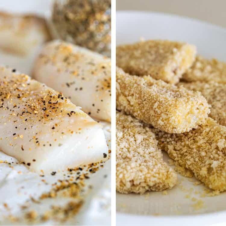 seasoned cod and breaded fish sticks