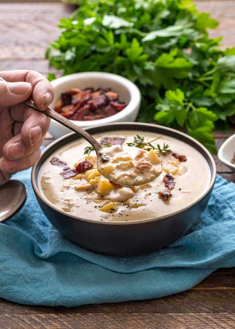 spoonful of New England Clam Chowder