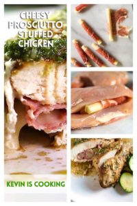cheesy prosciutto stuffed chicken with steps