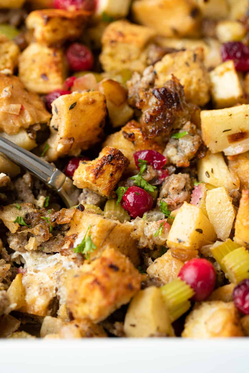 close up of Apple Sausage Stuffing