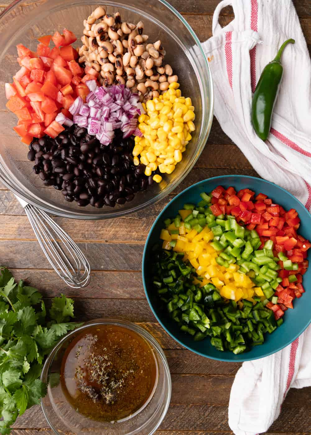 cut prepped ingredients for Cowboy Caviar