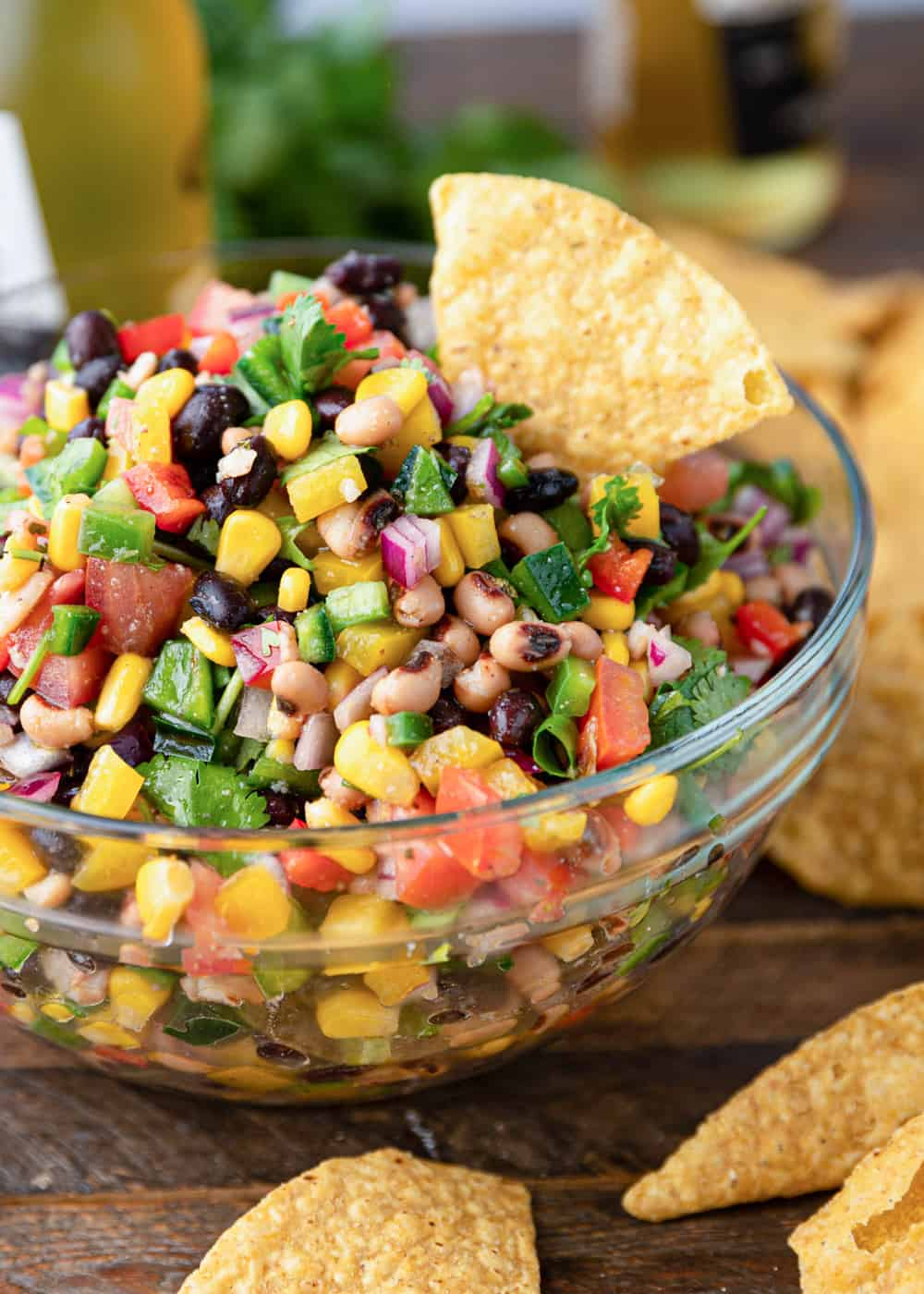 vegetables and beans in glass bowlCowboy Caviar