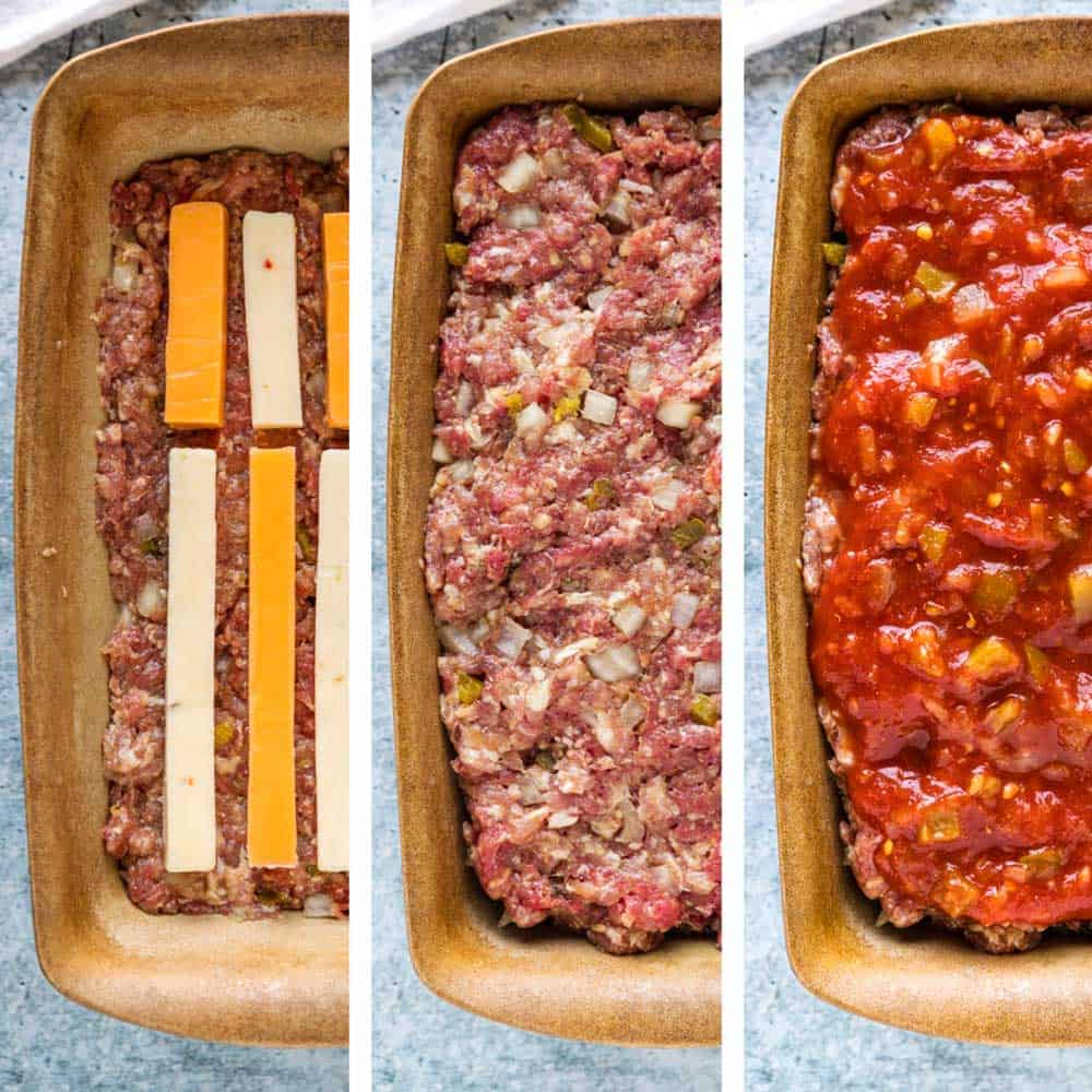 step by step prep for Mexican Meatloaf