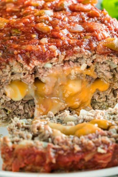 melting cheese in Mexican Meatloaf slice