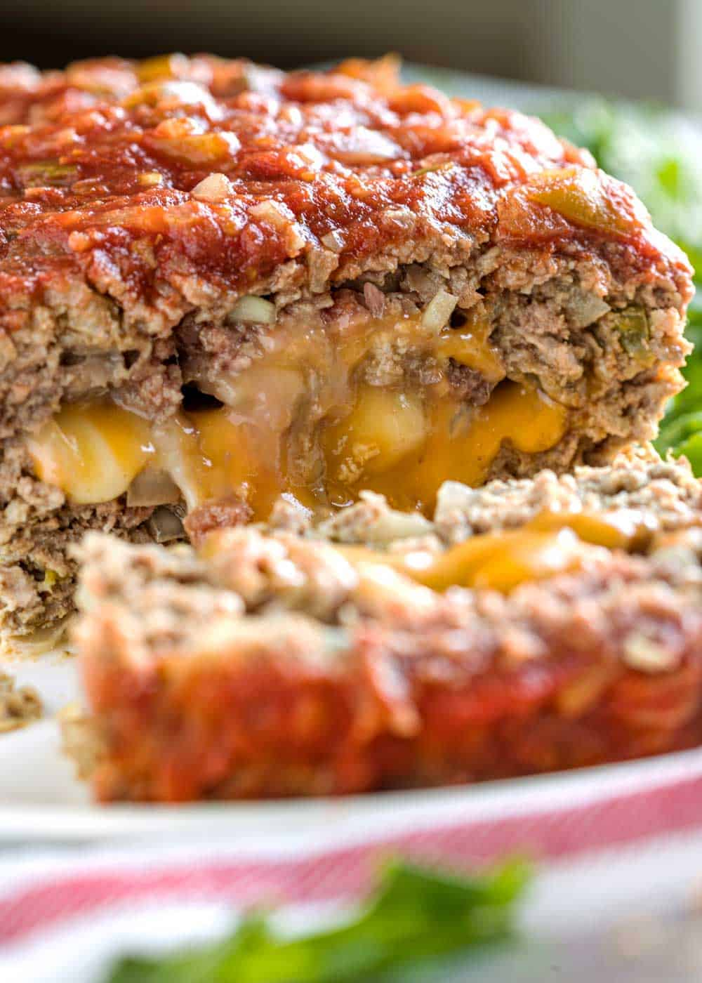 sliced cheesy meatloaf