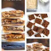 collage of pecan pie bars photos