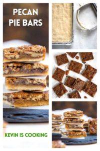 collage of pecan pie bars photos