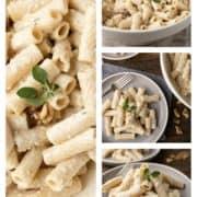 collage of white pesto pasta