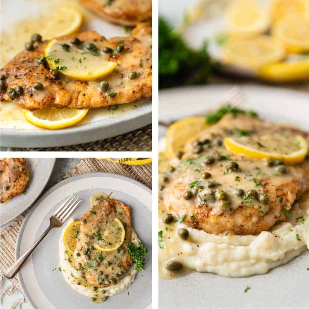 sauteed chicken, capers, lemon slices, mashed potatoes