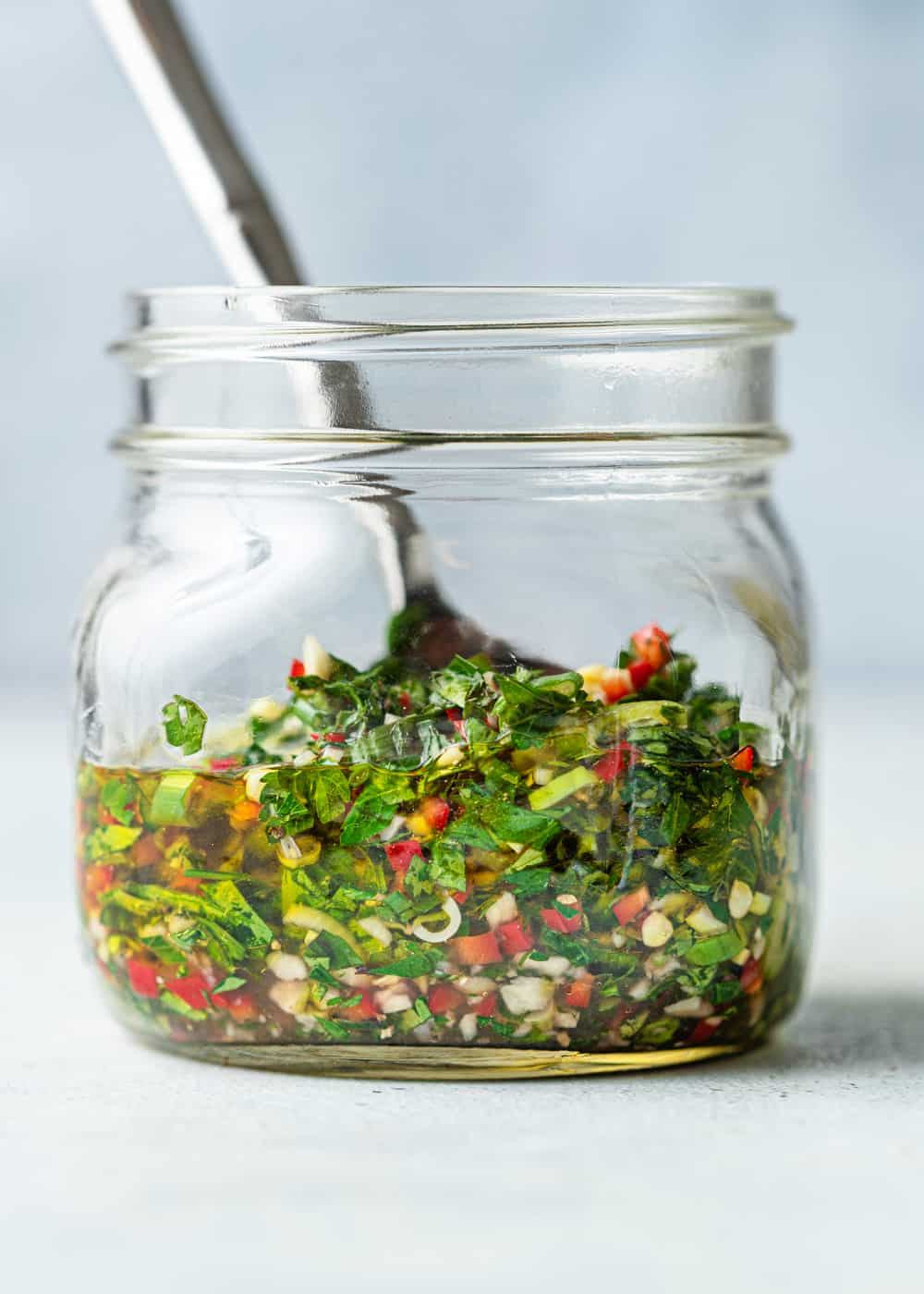 Chimichurri Sauce in glass jar