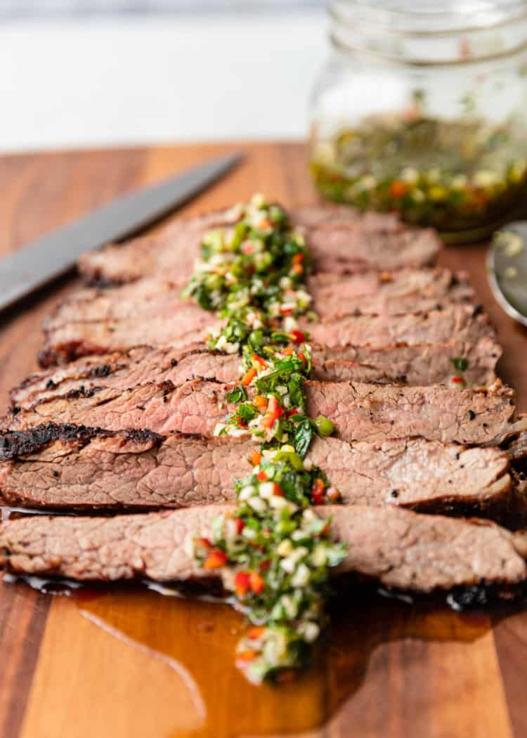 grilled flank steak with herb sauce