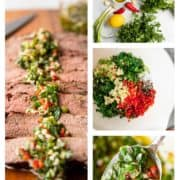 collage of prep photos for Chimichurri Sauce