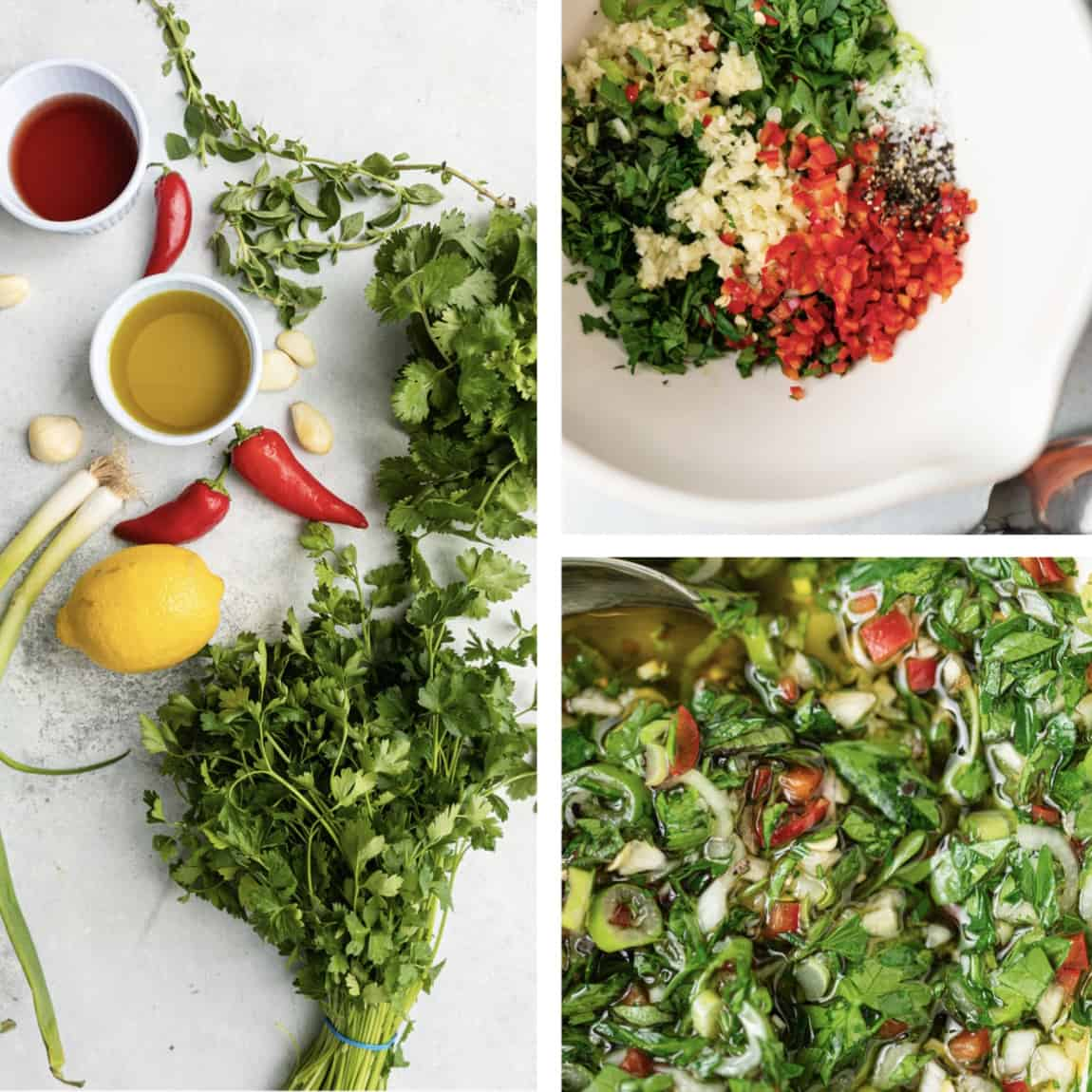 chiles, cilantro and parsley with lemon