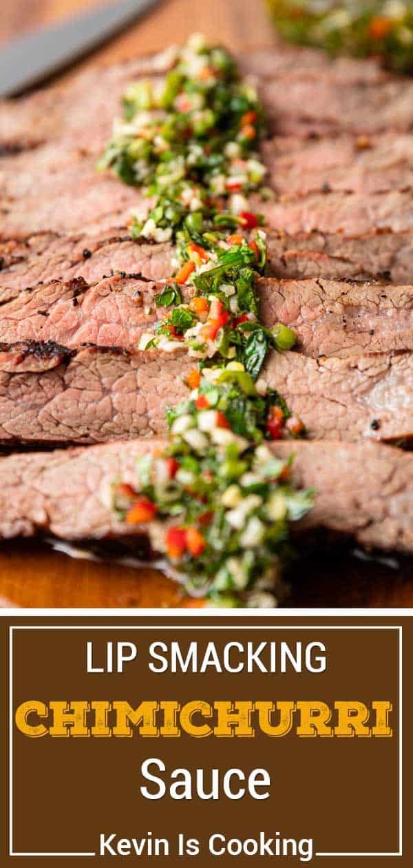 Chimichurri Sauce on grilled meat