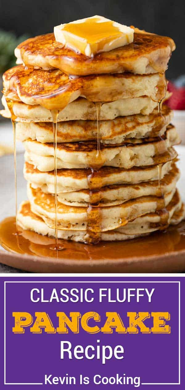 A tall stack of Pancakes, syrup dripping and Butter