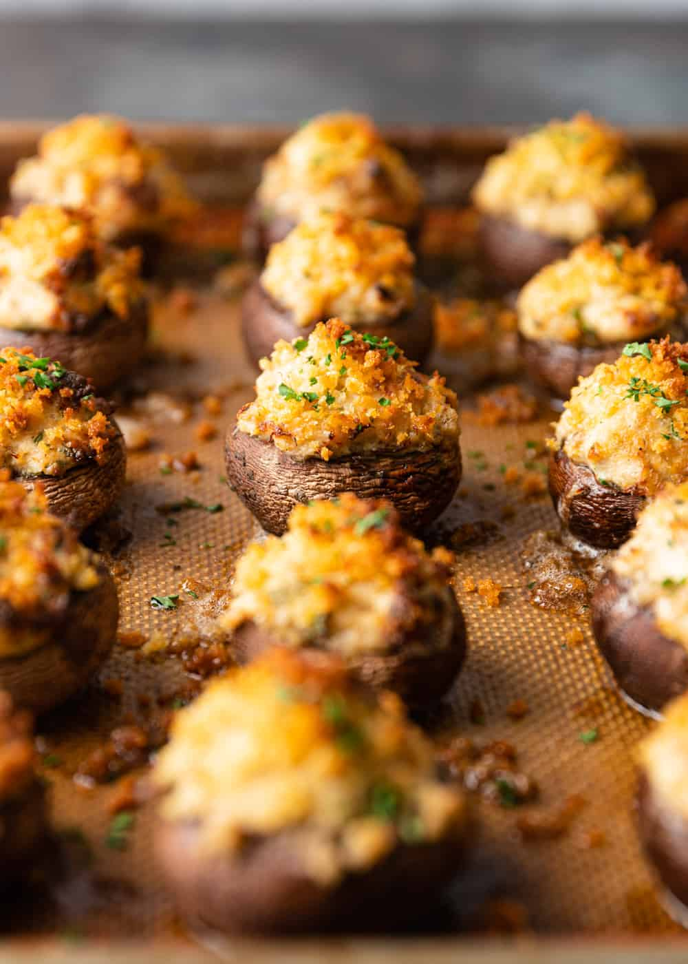 tray of baked Crab Stuffed Mushrooms
