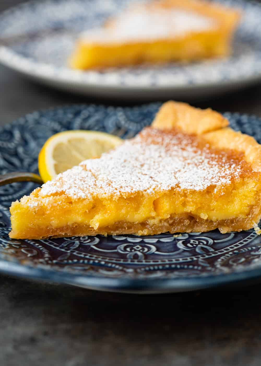 slice of Lazy Mary's Lemon Tart