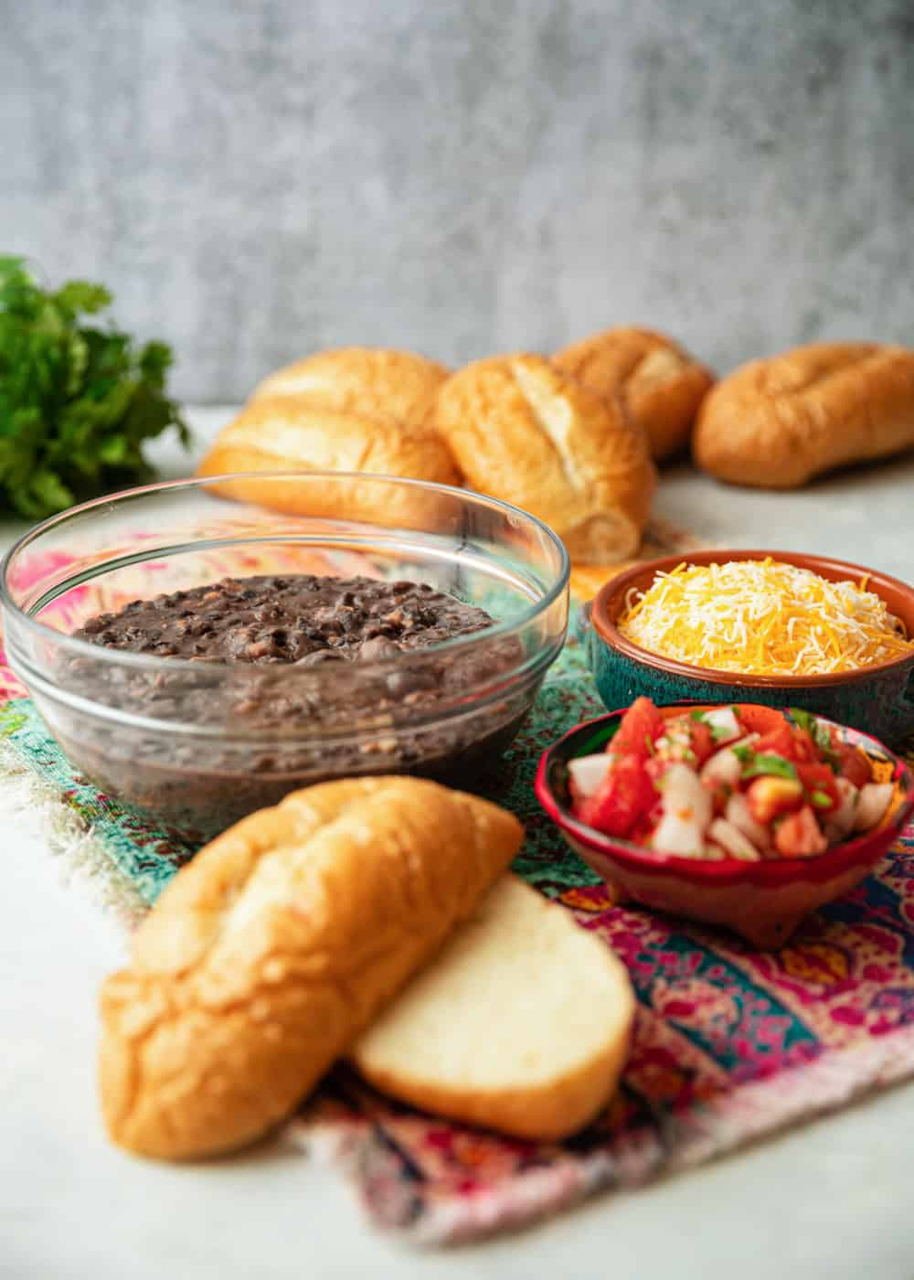 bread, refried beans and pico de gallo