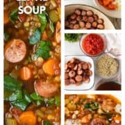 step photos of making Sausage lentil soup