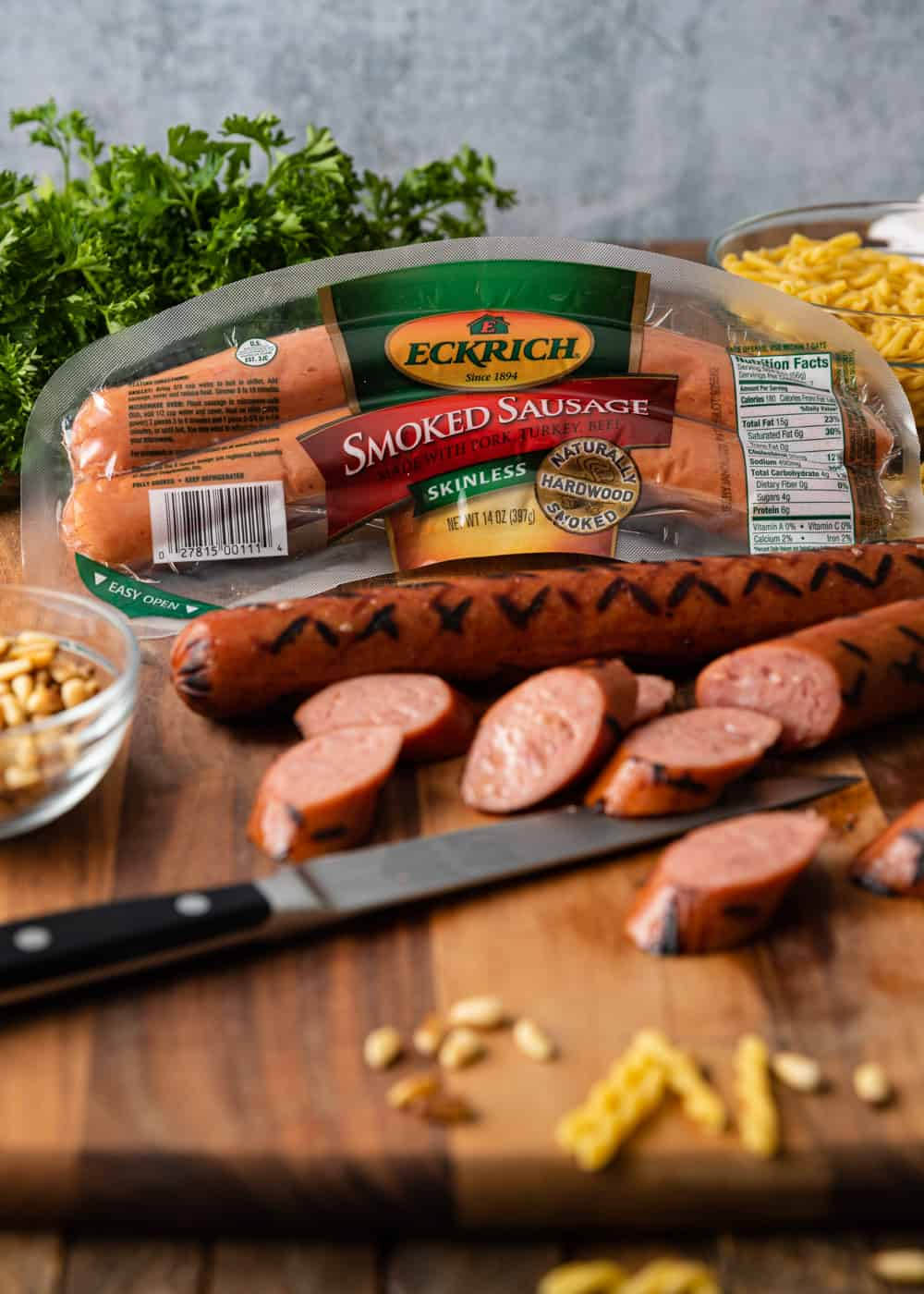 Eckrich sausages on cutting board