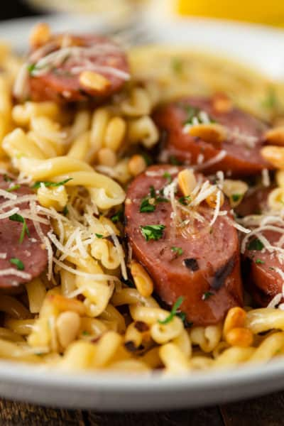 close up of Smoked Sausage and Browned Butter Pasta