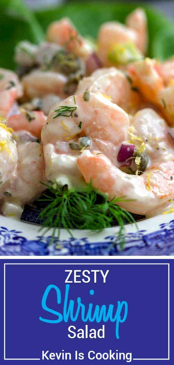 zesty shrimp salad on willow plate