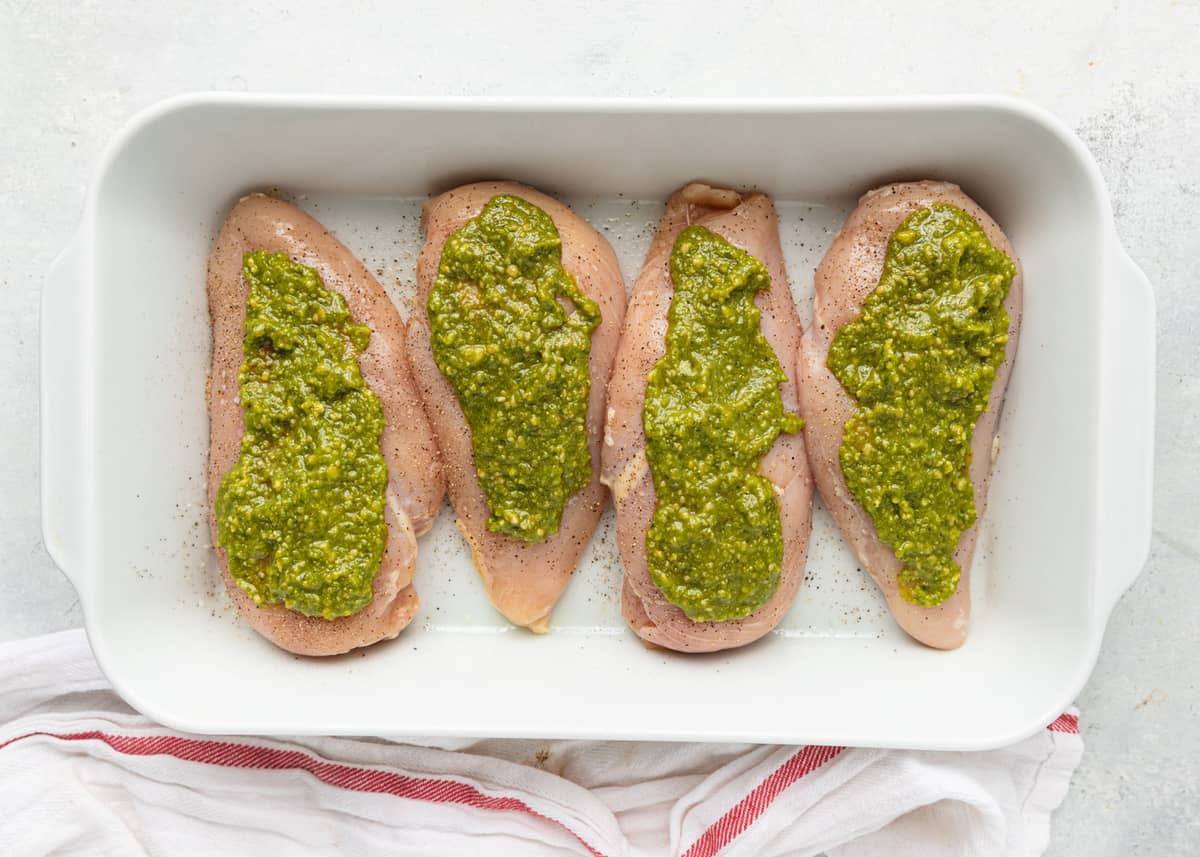 pesto on chicken