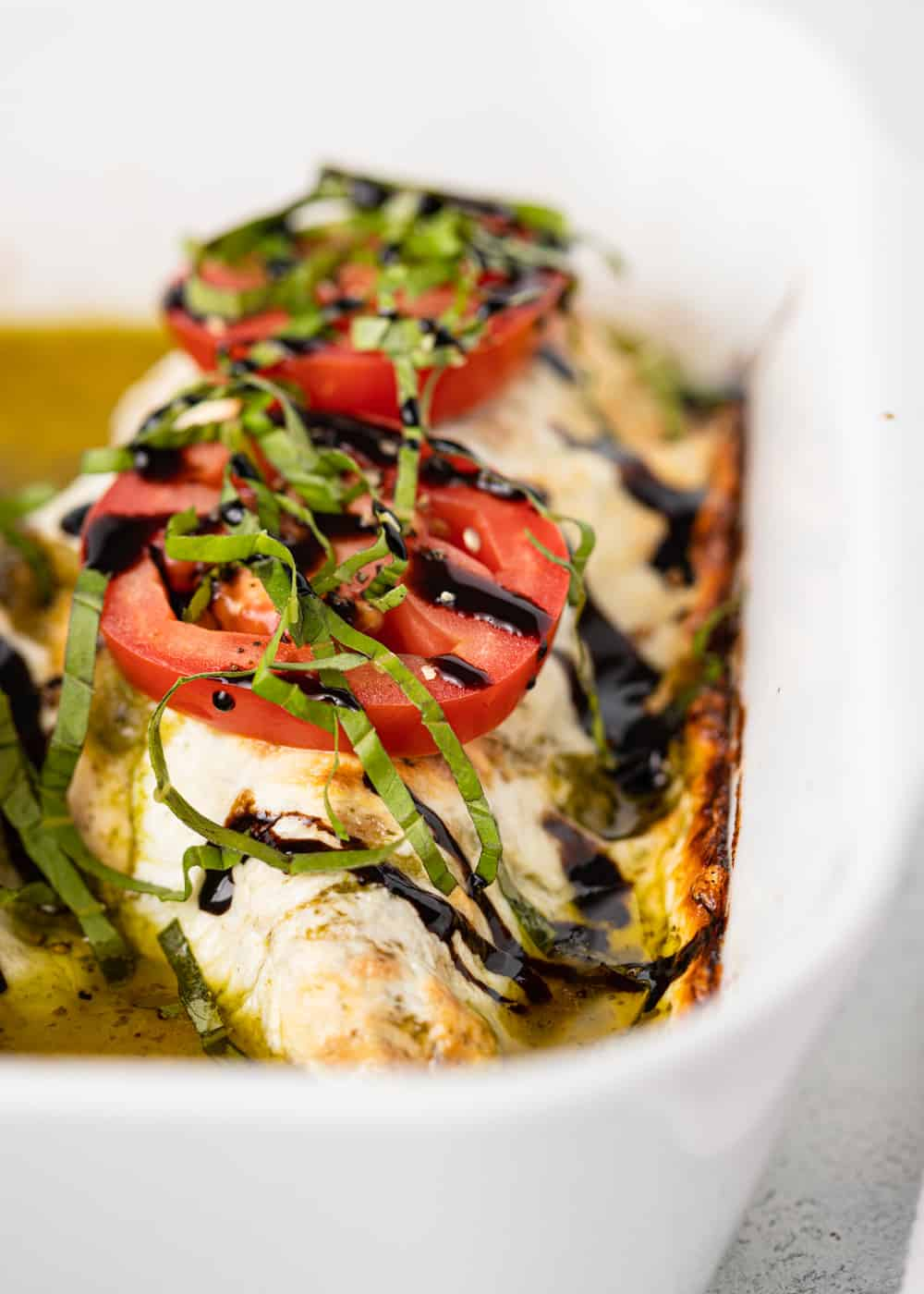 baked chicken caprese in pan