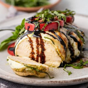 baked chicken caprese with balsamic syrup