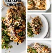 collage og baked honey balsamic chicken with mozzarella cheese