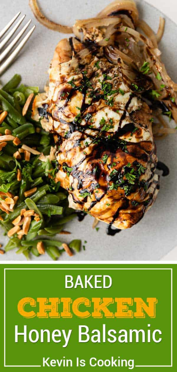 balsamic and honey drizzled on baked chicken