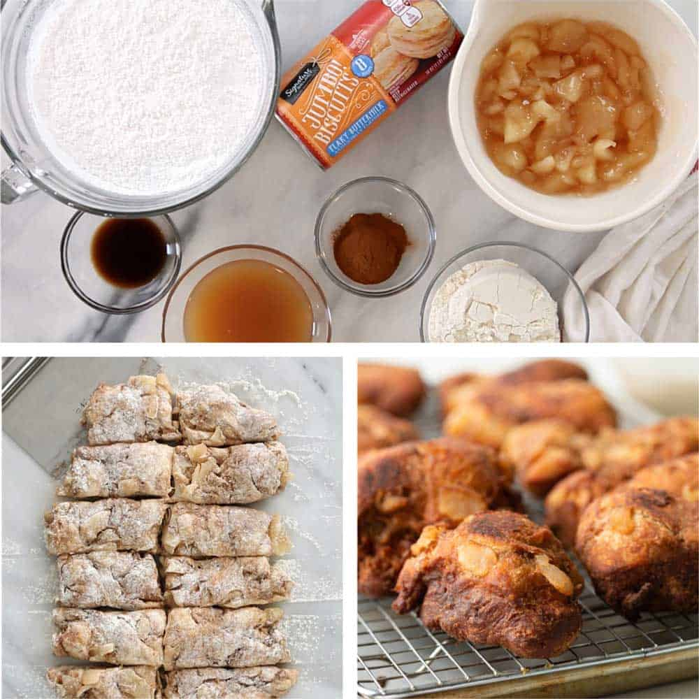 ingredients and the process of making apple fritters