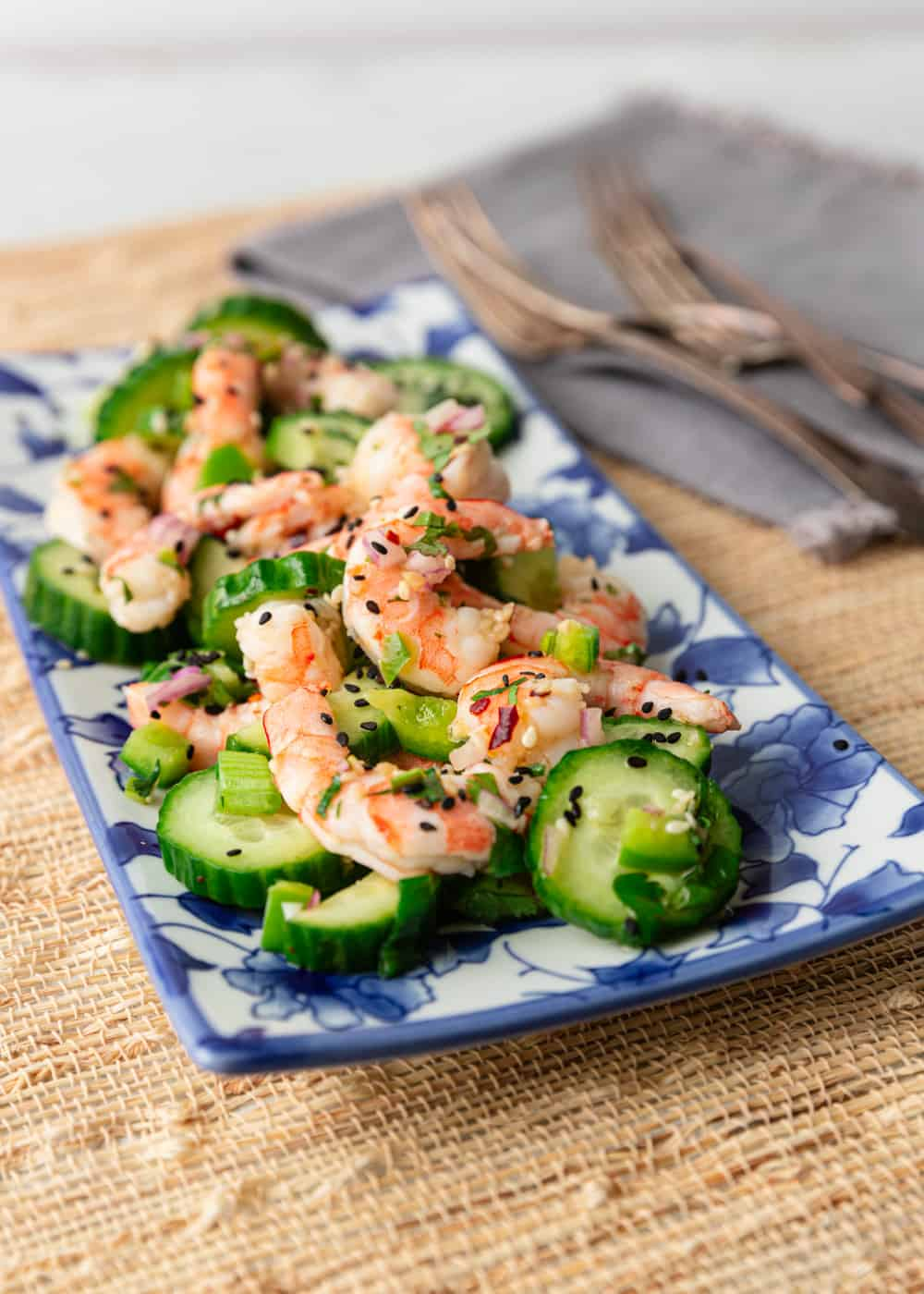 shrimp salad recipe on Asian tray