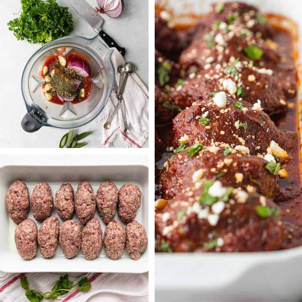 collage of photos showing preparation of Greek meatball recipe