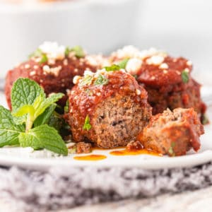 close up of a Greek meatball