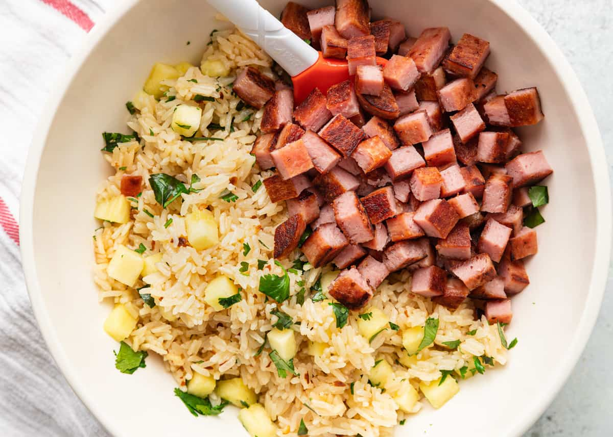bowl of SPAM, rice and pineapple