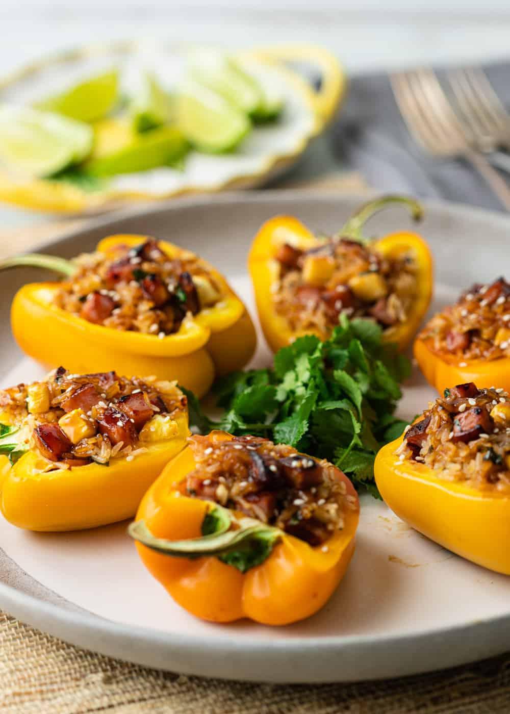 plated Hawaiian stuffed peppers
