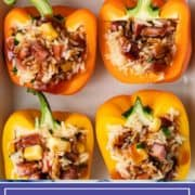 overhead photo of stuffed Hawaiian peppers